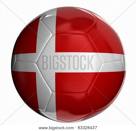 Soccer ball with Danish flag