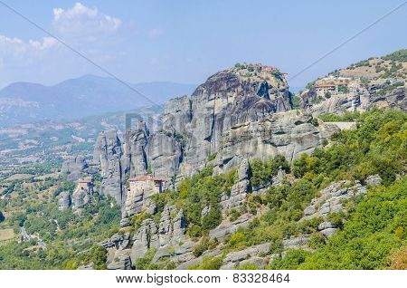 Meteora, Greece - Monastery on top of a rocky mountain