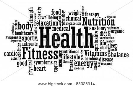 Health, fitness, awareness word cloud vector illustration