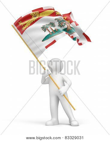 Man and flag of Prince Edward Island (clipping path included)