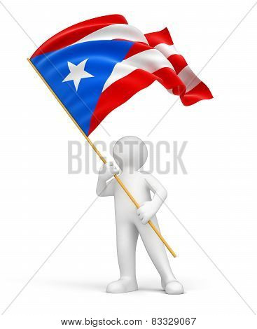 Man and Puerto Rican flag (clipping path included)