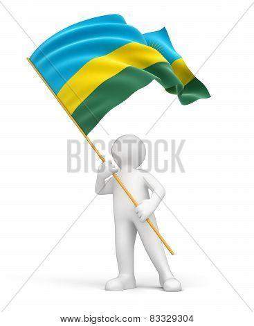 Man and Rwanda flag (clipping path included)