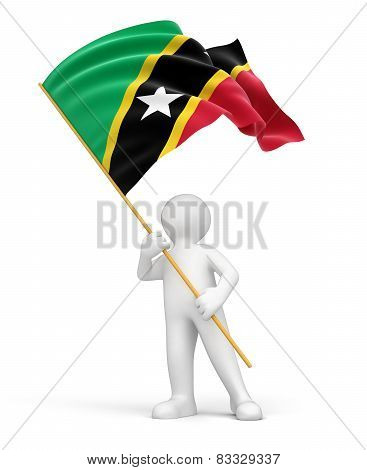 Man with Saint Kitts and Nevis flag (clipping path included)