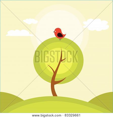 Illustration of a tree and a bird