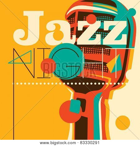 Jazz background with retro microphone. Vector illustration.