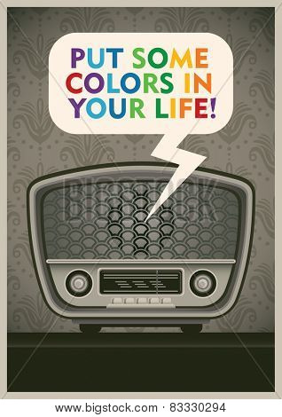 Poster with vintage radio. Vector illustration.
