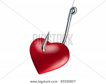 Red heart on the fishing hook