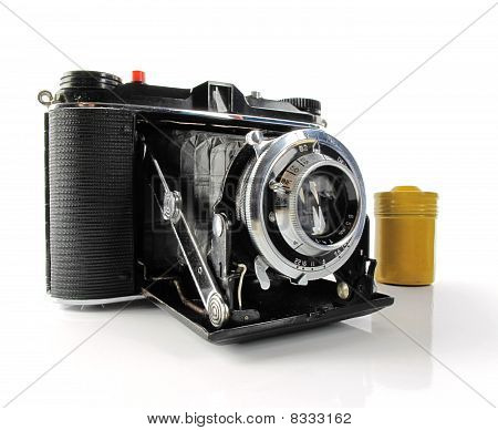 Vintage Camera With Film Container