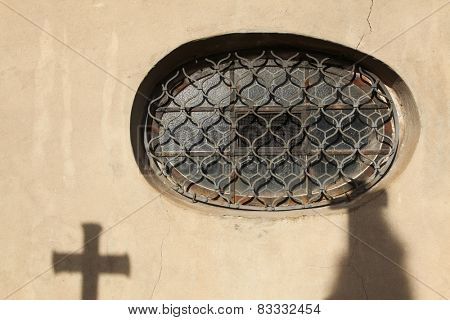 Round window in the Sedlec Ossuary near Kutna Hora, Czech Republic.