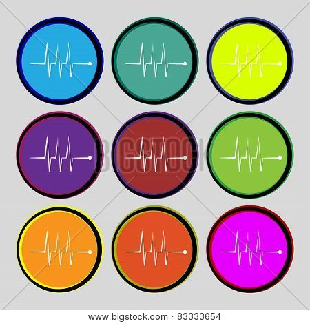 Cardiogram Monitoring Sign Icon. Heart Beats Symbol. Set Colourful Buttons. Vector