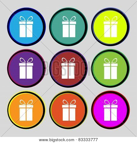 Gift Box Sign Icon. Present Symbol. Set Colourful Buttons. Vector