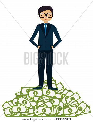 Businessman succeeded. A man in a suit standing on a mountain of money. Business concept