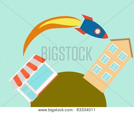 Fast delivery. The missile flies out of the store into house. Vector illustration