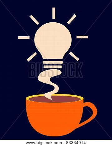 Energy charge. Cup of coffee with smoke in the form of a symbol of new ideas. Vector illustration