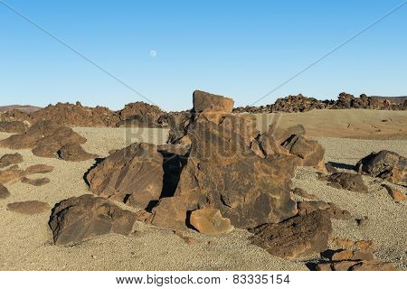 Vulcano Landscape With Moon