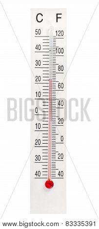 Home Mercury Thermometer On White Background