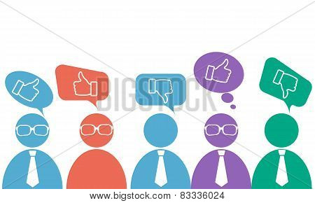 Opinion businessmen in ties and glasses on business