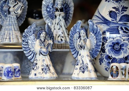 Two Angels In Delft Blue
