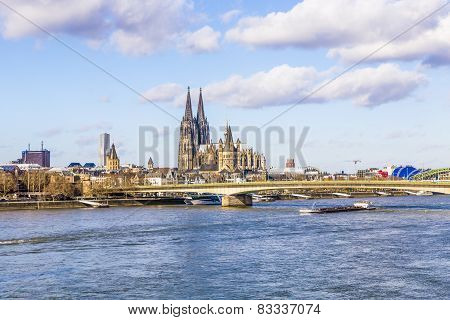 Cologne Skyline With Dome And Bridge