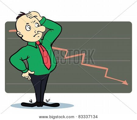 Frightened man in a chart going down. Cartoon illustration