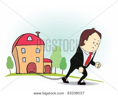 Cartoon character with iron chain and house.  illustration of man and real estate in credit