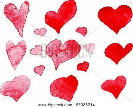 Set of watercolor hearts, vector element