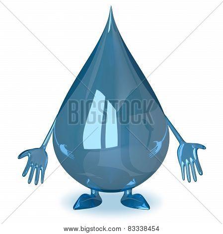Sad Water Drop Character
