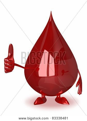 Blood Drop Giving Thumb Up
