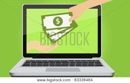 Payment for services online. Man sends money. Vector illustration