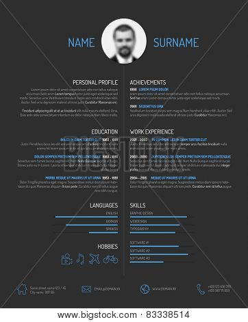 Vector minimalist cv / resume template - minimalistic dark version