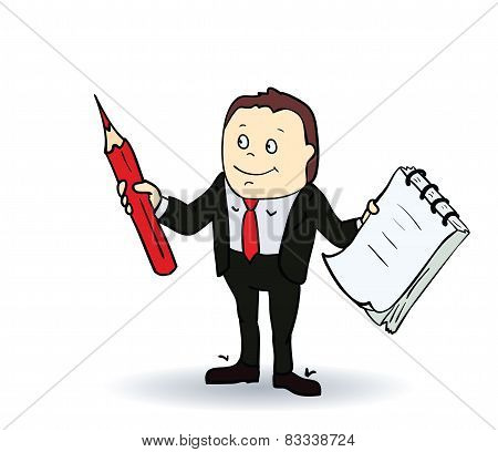 Cartoon person with blank spiral notepad and a pencil. Vector illustration