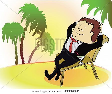 Businessman on vacation. Rich person on sea beach. Cartoon vector illustration