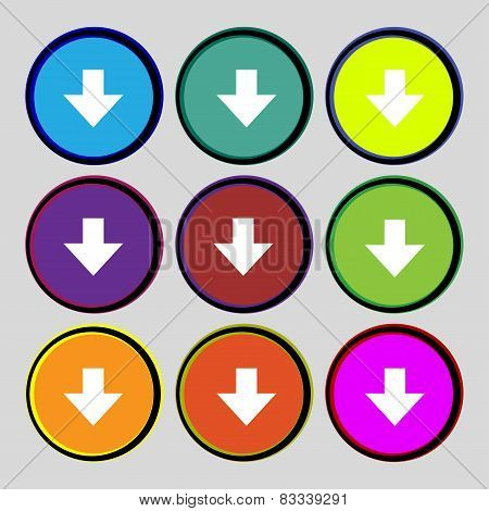 Download Sign. Downloading Flat Icon. Load Label. Set Colourful Buttons Vector