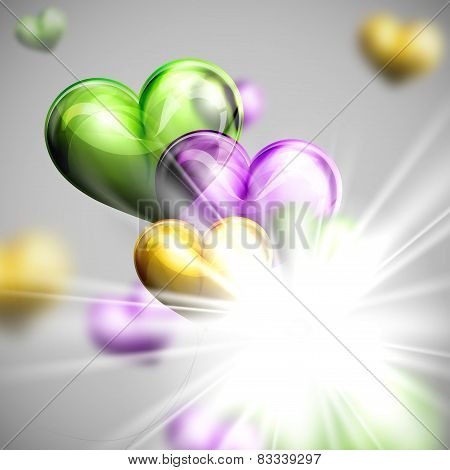 holiday illustration of flying bunch of multicolored balloons