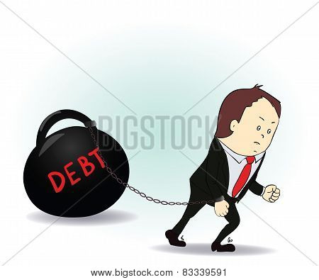 Business man burdened with Debt illustration business