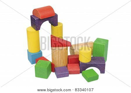 Wooden Construction Set Isolated Over White