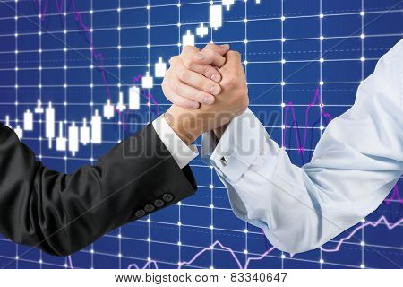 Businessmen Hands Engaged In Arm Wrestling
