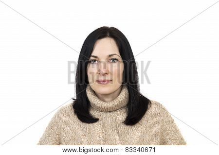 Portrait Of A Woman Wearing Beige Sweater Posing Isolated Over White