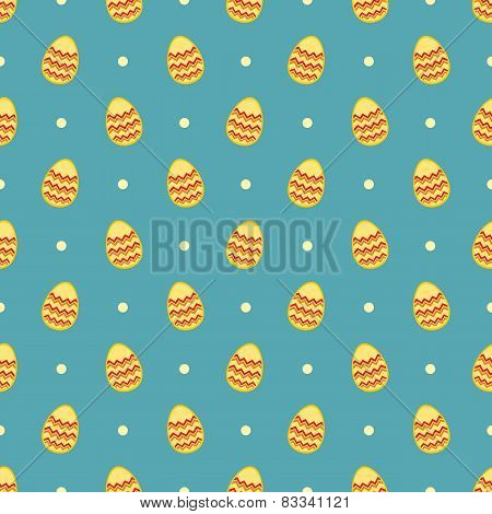 Tile vector pattern with easter eggs on mint blue and polka dots background