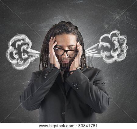 Businessman brain in smoke