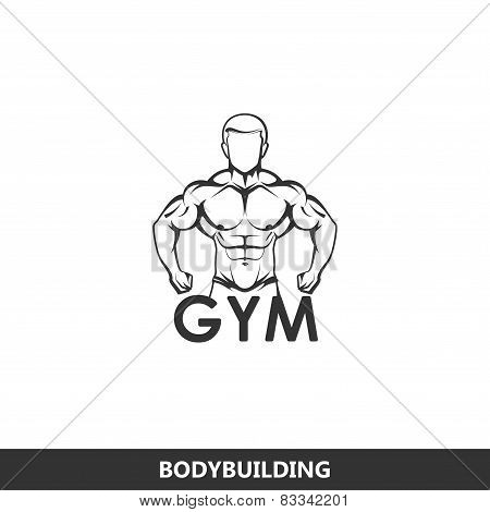 illustration of muscled man body silhouette. fitness logo