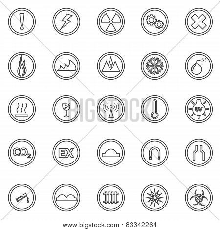 Warning Sign Line Icons On White Background