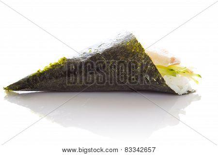 Perch Sushi Temaki Isolated On White Background White Bakground