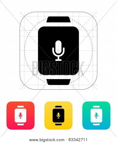 Microphone in smart watch icon.
