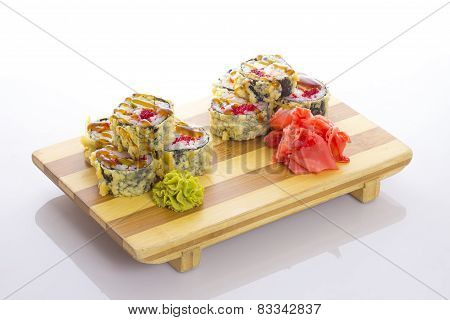 Deep-fried Japanese Roll With Red Caviar Avocado And Unagi Sauce