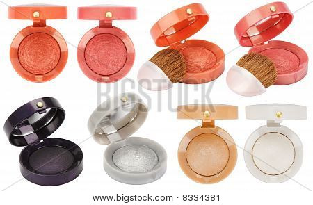 Set Of 8 Multicolored Eye Shadows Isolated On White