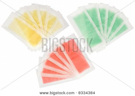 Set Of 3 Multicolored Wax Epilation Strips Isolated On White