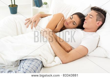 Sleeping Couple In Love