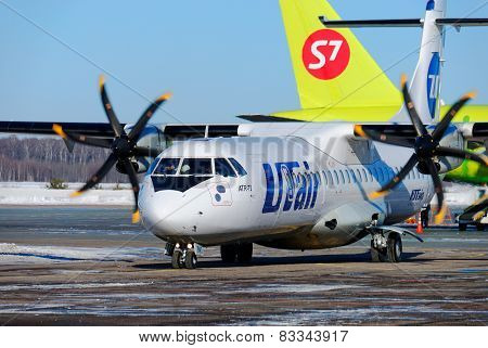 NIZHNY NOVGOROD. RUSSIA. FEBRUARY 17, 2015.  Passenger ATR-72 plane of the Utair company.