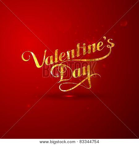 illustration of golden foil St. Valentines Day label